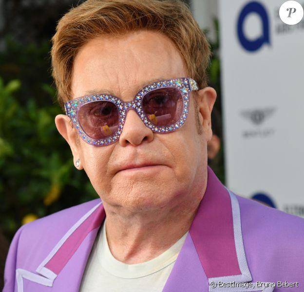 Elton John et son mari David Furnish à la Midsummer Party au profit de la Elton John Aids Fondation à la Villa Dorane au Cap d'Antibes en France, le 24 juillet 2019. © Bruno Bebert/Bestimage