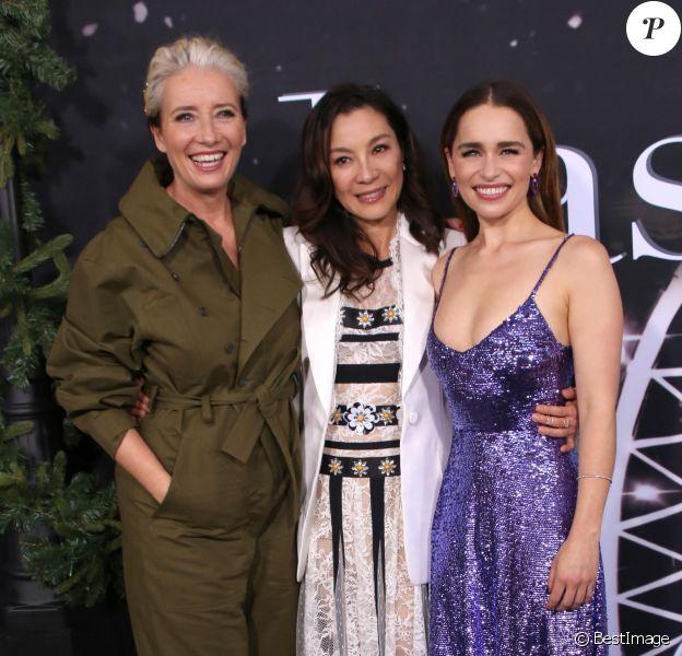 Emma Thompson, Michelle Yeoh et Emilia Clarke assistent à l'avant-première du film 'Last Christmas' à New York, le 29 octobre 2019. © Nancy Kaszerman / Zuma Press / Bestimage