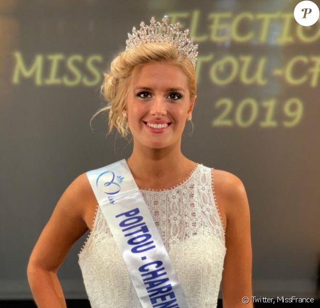 Andréa Galland, Miss Poitou-Charentes 2019, se présentera à l'élection de Miss France 2020, le 14 décembre 2019.