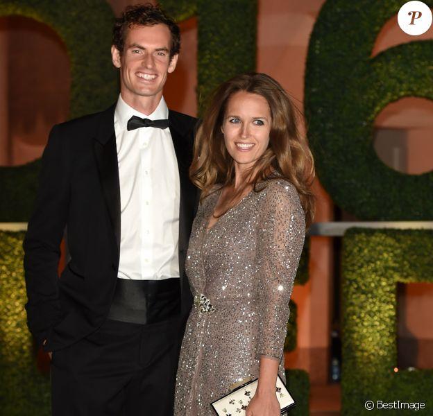 Andy Murray et sa femme Kim Sears lors du dîner de gala en l'honneur des vainqueurs du tournoi de Wimbledon 2016, Serena Williams et Andy Murray victorieux, au Guildhall à Londres le 10 juillet 2016.