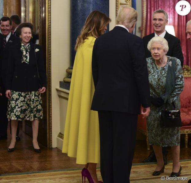 La princesse Anne, la reine Elisabeth II d'Angleterre, Melania Trump, Donald Trump, le prince Charles, Camilla Parker Bowles - La reine Elisabeth II d'Angleterre donne une réception à Buckingham Palace à l'occasion du Sommet de l'Otan à Londres, le 3 décembre 2019.