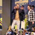Exclusif - Ryan Reynolds a fait une chute sans gravité entre le podium et la foule au Comic Con de Sao Paulo le 7 décembre 2019.