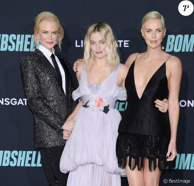 """Nicole Kidman, Margot Robbie et Charlize Theron assistent à l'avant-première du film """"Scandale"""" au Regency Village. Westwood, Los Angeles, le 10 décembre 2019."""