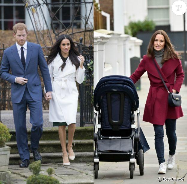 Meghan Markle et Pippa Middleton, toutes les deux adeptes des manteaux en laine ceinturés à large col. Ici, la duchesse de Sussex en 2017 et Pippa Middleton en décembre 2019.