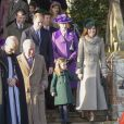 Le prince William, duc de Cambridge, et Catherine (Kate) Middleton, duchesse de Cambridge, la princesse Charlotte de Cambridge et la princesse Anne lors de la messe de Noël en l'église Sainte-Marie-Madeleine à Sandringham au Royaume-Uni, le 25 décembre 2019.