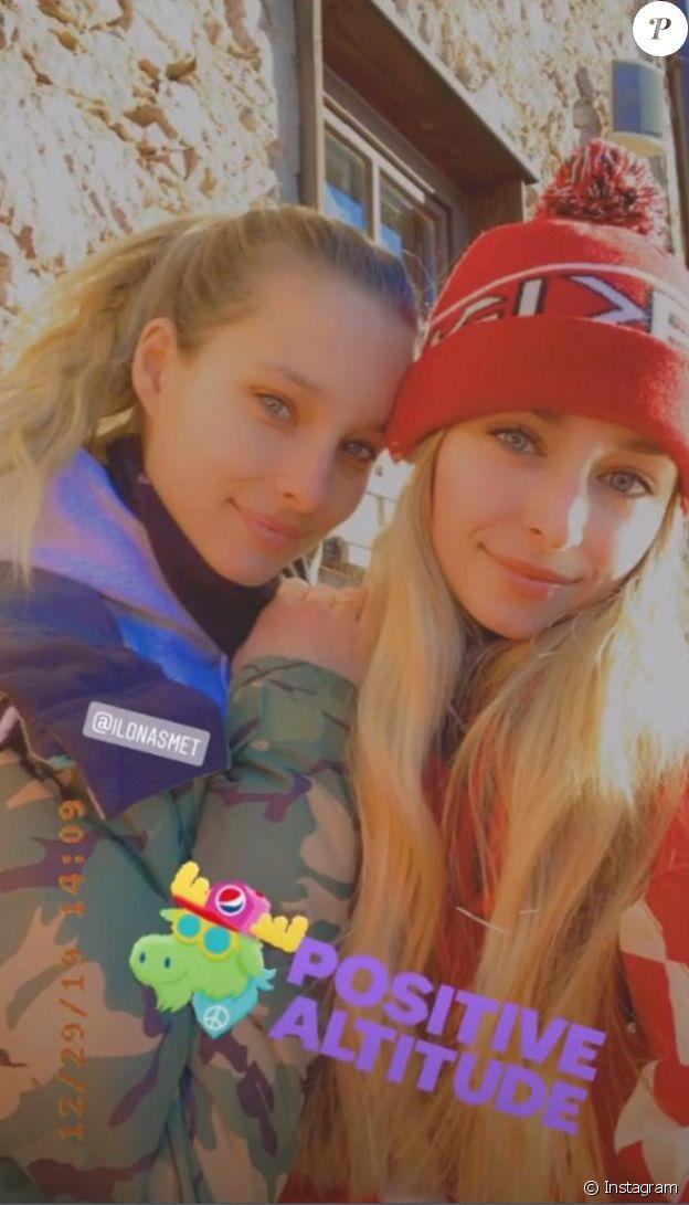 Emma et Ilona Smet sur Instagram. Vacances à Courchevel, le dimanche 29 décembre 2019.