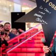 Le chanteur du groupe de Heavy Metal Black Sabbath, Ozzy Osbourne, reçoit son étoile sur le Vegas Crocus du centre commercial de Krasnogorsk, près de Moscou, le 31 mai 2018.