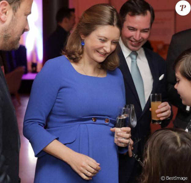 La princesse Stéphanie de Luxembourg, enceinte, assistait avec son mari le prince Guillaume, grand-duc héritier de Luxembourg, au 75e anniversaire de l'Oeuvre Nationale de Secours Grande-Duchesse Charlotte le 23 janvier 2020 à l'European Convention Center à Luxembourg.