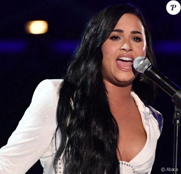 """Demi Lovato interprète son titre """"Anyone"""" lors de la 62e cérémonie des Grammy Awards au Staples Center de Los Angeles. Le 26 janvier 2020. @Robert Hanashiro-USA Today/SPUS/ABACAPRESS.COM"""