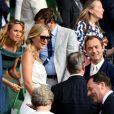 Jude Law et sa femme Phillipa Coan - Les célébrités dans les tribunes de Wimbledon à Londres, le 12 juillet 2019.