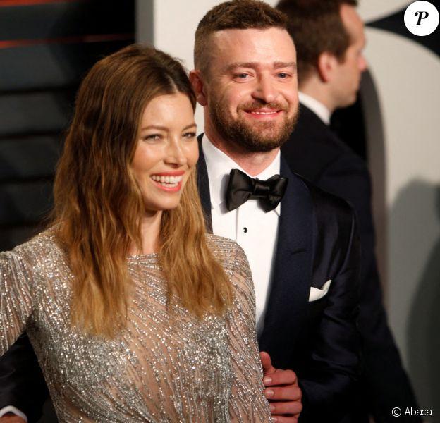 """Justin Timberlake et Jessica Biel assistent à la soirée """"Vanity Fair Oscar Party"""", au Wallis Annenberg Center for the Performing Arts de Los Angeles. Le 28 février 2016. @Hubert Boesl/DPA/ABACAPRESS.COM"""