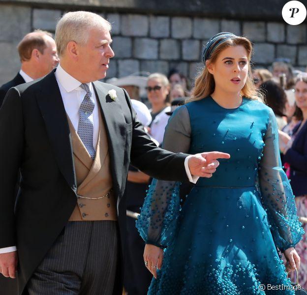 Le prince Andrew, duc d'York et La princesse Beatrice d'York - Les invités arrivent à la chapelle St. George pour le mariage du prince Harry et de Meghan Markle au château de Windsor, Royaume Uni, le 19 mai 2018.