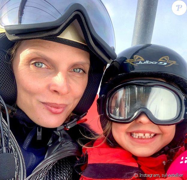Sylvie Tellier avec ses enfants à Avoriaz, le 12 février 2020