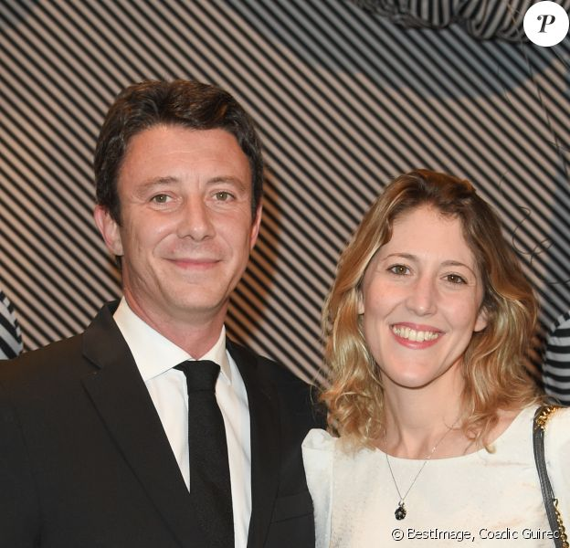 "Benjamin Griveaux avec sa femme Julia Minkowski - Dîner de gala annuel de la société des amis du Centre Pompidou ""Black & White"" au centre national d'art et de culture Georges-Pompidou à Paris, France, le 10 avril 2018. © Coadic Guirec/Bestimage-"
