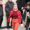 Cécile Cassel quitte le Grand Palais à l'issue du défilé Chanel, collection prêt-à-porter automne-hiver 2020-2021. Paris, le 3 mars 2020.