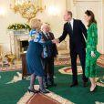 Le président irlandais Michael D.Higgins et sa femme Sabina Coyne, reçoivent le prince William, duc de Cambridge, et Catherine (Kate) Middleton, duchesse de Cambridge, à la résidence présidentielle officielle Aras an Uachtarain à Dublin, Irelande, le 3 mars 2020, pour une visite officielle de 3 jours.