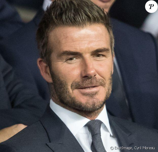 David Beckham dans les tribunes lors du match UEFA Ligue des Champions groupe A, opposant le Paris Saint-Germain (PSG) au Real Madrid au Parc des Princes à Paris, France, le 18 septembre 2019. Le PSG a gagné 3-0. © Cyril Moreau/Bestimage