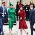 Meghan Markle en vert et Kate Middleton en rouge à la cérémonie du Commonwealth en l'abbaye de Westminster à Londres. Le 9 mars 2020.