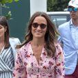 Pippa Middleton arrive pour assister à la finale homme du tournoi de Wimbledon Novak Djokovic - Roger Federer (7/6 - 1/6 - 7/6 - 4/6 - 13/12) à Londres, le 14 juillet 2019.