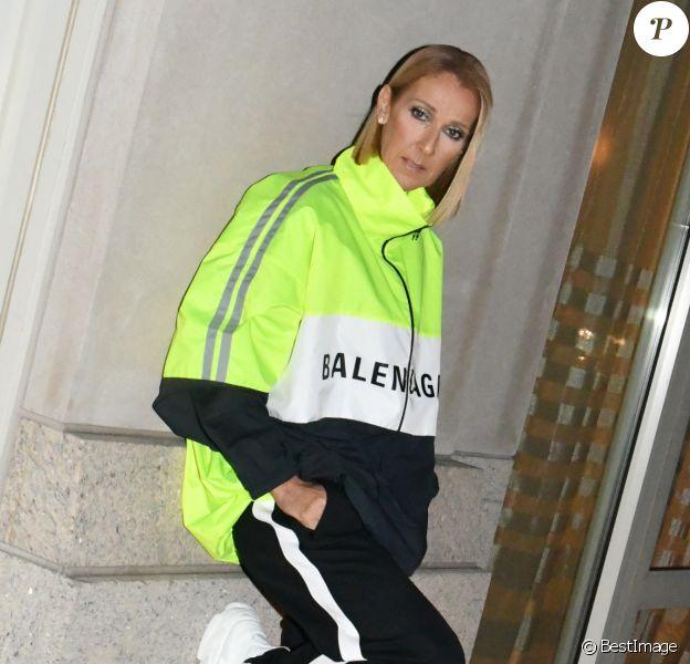 Exclusif - Céline Dion en veste, jogging et baskets Balenciaga à l'issue de son deuxième concert au Barclays Center. Brooklyn, New York, le 29 février 2020.