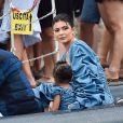 Exclusif - Kylie Jenner, son compagnon Travis Scott et leur fille Stormi Webster sont allés se promener dans le village de pêcheurs de Portofino, Italy, le 12 août 2019.