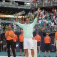 Roger Federer a remporté son 101ème titre en finale du Masters 1000 de Miami contre J. Isner, le 31 mars 2019.