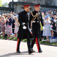 Les princes Harry et William arrivent à la chapelle St. George au château de Windsor - Mariage du prince Harry et de Meghan Markle au château de Windsor, Royaume Uni, le 19 mai 2018.