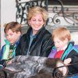 Diana avec ses fils William et Harry en vacances en Autriche en 1993.