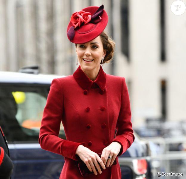Kate Middleton, duchesse de Cambridge - La famille royale d'Angleterre à son arrivée à la cérémonie du Commonwealth en l'abbaye de Westminster à Londres. Le 9 mars 2020