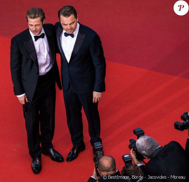 """Brad Pitt, Leonardo Dicaprio - Montée des marches du film """"Once upon a time... in Hollywood"""" lors du 72ème Festival International du Film de Cannes. Le 21 mai 2019 © Borde - Jacovides - Moreau / Bestimage"""