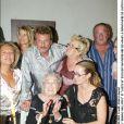 Johnny Hallyday, sa femme Laeticia et Odette - Anniversaire de l'arrière grand-mère de Laeticia, en 2003