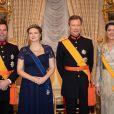 Le prince Guillaume de Luxembourg, son épouse la princesse Stéphanie, enceinte de leur premier enfant, le grand-duc Henri de Luxembourg et la princesse Alexandra au palais grand-ducal à Luxembourg, le 16 janvier 2020, pour la réception du Nouvel An.