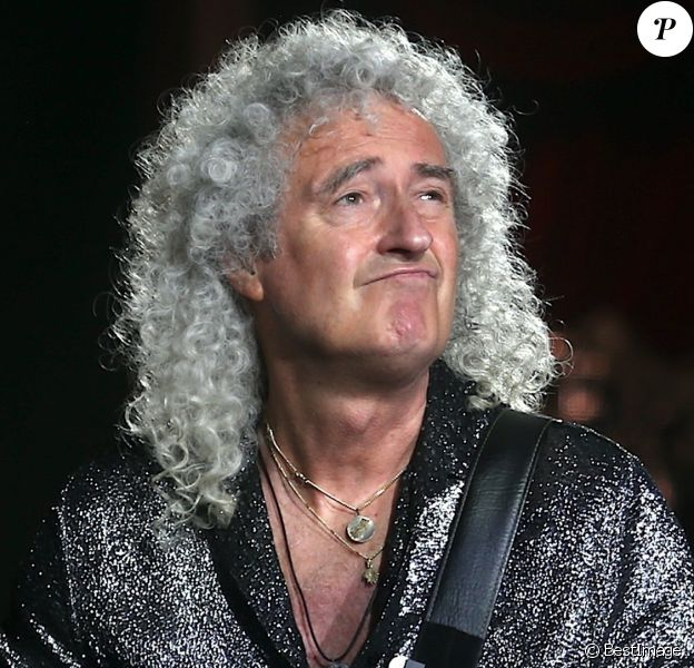 Le groupe Queen (Brian May et Roger Meddows) et Adam Lambert en concert au stade Optus Stadium à Perth, Australie, le 23 février 2020.
