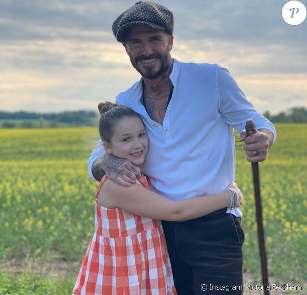 David Beckham et sa fille Harper. Mai 2020.