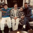 David Beckham et ses trois enfants Cruz, Romeo et Harper assistent au défilé Victoria Beckham (collection automne-hiver 2020-2021) à la Banqueting House. Londres, le 16 février 2020.