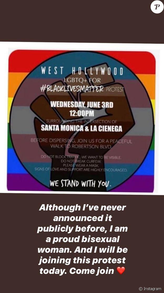Lili Reinhart fait son coming-out bisexuel et appelle la communauté LGBTQ à aller manifester pour Black Lives Matter, le 2 juin 2020 sur Instagram.