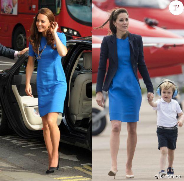Kate Middleton portant sa robe bleue Stella McCartney : en 2012 à la National Portrait Gallery de Londres, puis en 2016 lors d'un show aérien à Gloucester avec son fils le prince George.