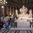 Exclusif - Messe à la Madeleine à Paris, pour commémorer l'anniversaire (77 ans ) de Johnny Hallyday, en présence de nombreux fans dont le club de motos Desperados le 15 juin 2020. © Jack Tribeca / Bestimage