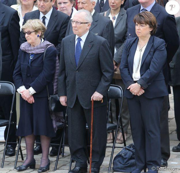 Jacques Delors et sa femme Marie, Martine Aubry - Obsèques de Pierre Mauroy aux Invalides à Paris le 11 juin 2013.