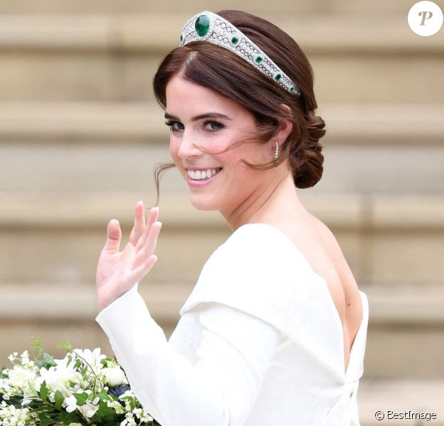 La princesse Eugenie d'York - Sorties après la cérémonie de mariage de la princesse Eugenie d'York et Jack Brooksbank en la chapelle Saint-George au château de Windsor le 12 octobre 2018.