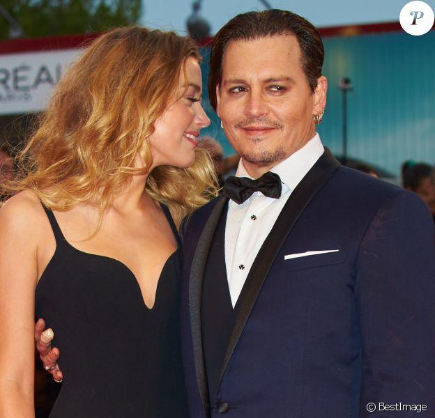 Johnny Depp et sa femme Amber Heard - Tapis rouge du film Black Mass (Strictly Criminal) lors du 72ème festival du film de Venise (la Mostra), le 4 septembre 2015.