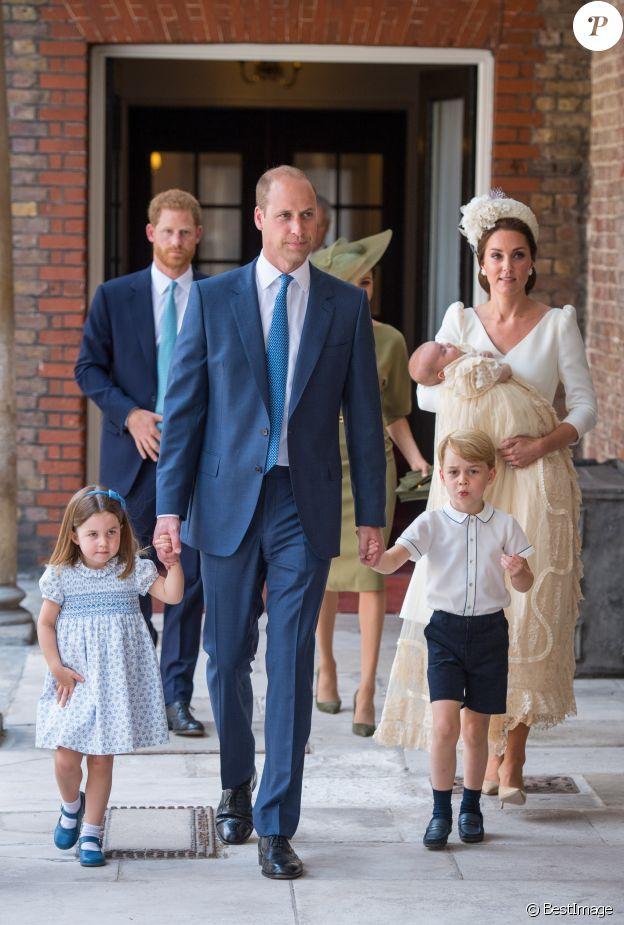 Image du baptême du prince Louis de Cambridge, troisième enfant du prince William et de la duchesse Catherine de Cambridge, le 9 juillet 2018 au palais St James à Londres.