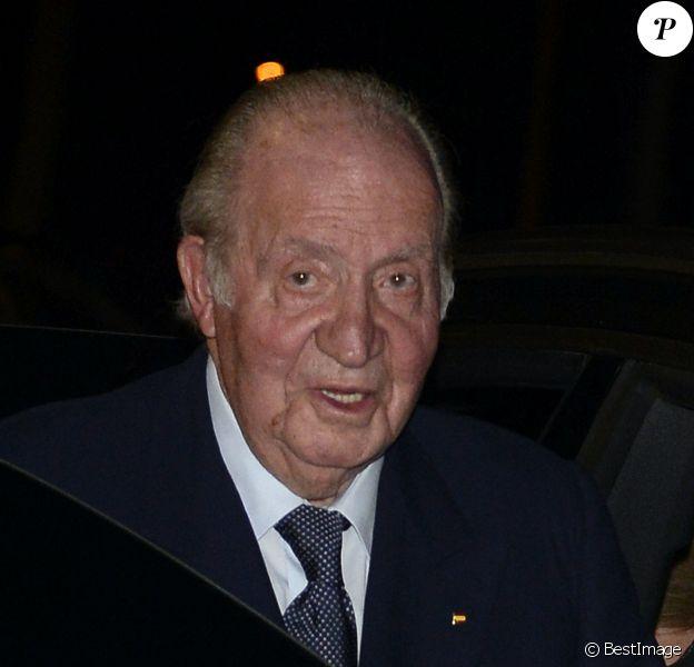 Le roi Juan Carlos d'Espagne à son arrivée aux obsèques de l'homme d'affaires mexicain Placido Arango à Madrid. Le 17 février 2020
