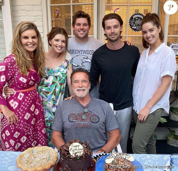 Arnold Schwarzenegger, son ex-femme Maria Shriver et leurs 4 enfants. Août 2020.