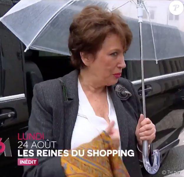 """Roselyn Bachelot dans """"Les Reines du shopping"""", émission présentée par Cristina Cordula et diffusée le 24 août 2020 sur M6."""