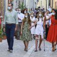 Felipe et Letizia d'Espagne, avec leurs filles Leonor et Sofia, en visite à Majorque, le 10 août 2020.
