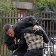 Ben Affleck, sur le tournage de son film The Town, à Boston. Il tourne une scène de bagarre. Septembre 2009