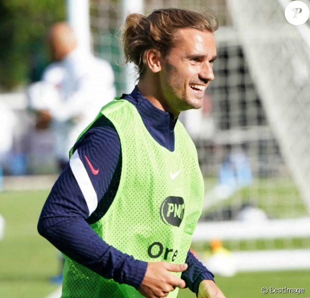 Antoine Griezmann à l'entraînement avec l'équipe de France de football à Clairefontaine.
