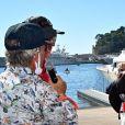 """La princesse Charlène de Monaco - La famille princière de Monaco à l'arrivée de la 3ème édition de la course """"The Crossing : Calvi-Monaco Water Bike Challenge"""". Monaco, le 13 septembre 2020. © Bruno Bebert/Bestimage"""