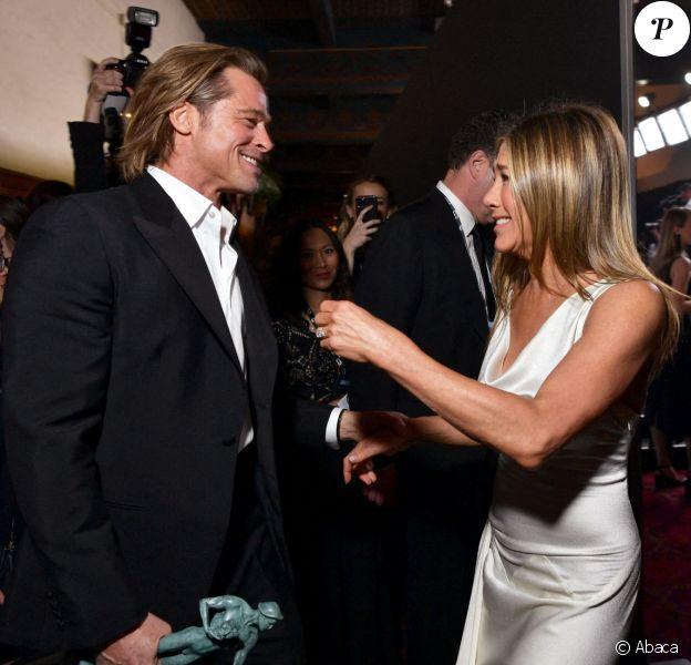 Brad Pitt et Jennifer Aniston aux SAG Awards à Los Angeles. 2020.